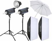 BRESSER Set de Flash de Studio: 2x CD-400 + Forfait Promotion 4
