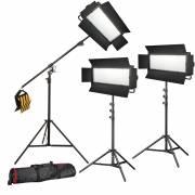 Set de photo/vidéo 3x BRESSER LG-1200 72W/11.800LUX + 3x trépieds