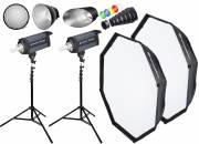 BRESSER Set de Flash de Studio: 2x CD-600 + Forfait promotion 1