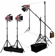 BRESSER Kit d'Éclairage et de Fond de Studio Nr.7 avec 3 Lampes de Studio Halogène SG-800D avec Variateur