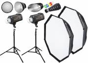 BRESSER kit flash studio: 2x FM-400 + Forfait Action 1