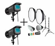 BRESSER Set de flash de studio: 2x CM-300 + Forfait Promotion 1
