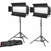 Set de photo/vidéo 2x BRESSER LG-900 54W/8.860LUX + 2x Pied d'éclairage
